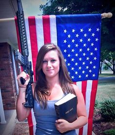 I'm the NRA and I tweet! This girl is proud of her conservative Christian views to the point that she shares them on social media. The problem with social media is that it's not THAT social: She's an Army wife and while it's natural for her to wave an Army gun, feedback has been staticky - it's the same gun used at Sandy Point and sympathizers have taken to it like vampires to a cross.