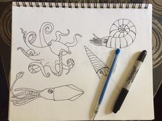 Preliminary cephalopod drawings for a future squiggly project #wip #squigs