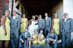 Large wedding party style shots
