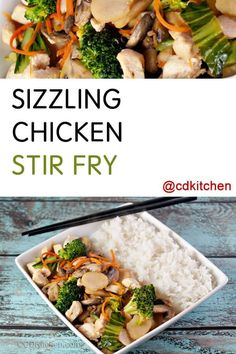 A simple but delicious stir fry made with chicken, fresh broccoli, mushrooms, carrots, bok choy, water chestnuts, and teriyaki sauce. | CDKitchen.com