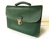 Vintage Genuine Leather  French  Briefcase - Schoolbag - Satchel