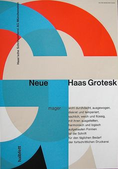 Neue Haas Grotesk One of the first promotionals, designed by Walter Bosshardt, 1958 50年代らしい色彩と構成。 かっちり感が気持ちよい。