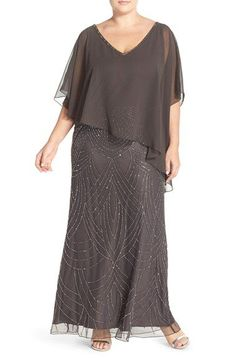 J Kara Chiffon Overlay Embellished Long Dress (Plus Size) available at #Nordstrom: