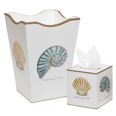 2-Piece Shells Waste Basket & Tissue Box Set