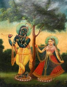 danielwamba: Radha Krishna in classical poise.19th Century Bengali School, oil on canvas.