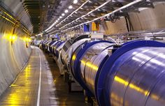 View of the LHC cryo-magnet inside the tunnel. (Maximilien Brice, © CERN)