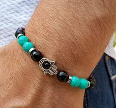 Mens Hamsa Hand Good Luck Gemstone Bracelet, Blue & Black Prayer Beads Mens Mala, Mens Yoga Gift, Protection, Communication, Patience