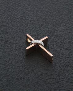 Χειροποίητος Σταυρός ροζ χρυσό Κ18 με Διαμάντια Pearl Diamond, Gold Pearl, Diamond Jewelry, Jewelry Rings, Or Antique, Antique Jewelry, Silver Jewelry, Cross Wallpaper, Gold Bangles Design