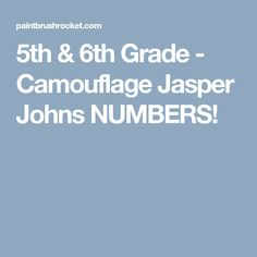 5th & 6th Grade - Camouflage Jasper Johns NUMBERS!