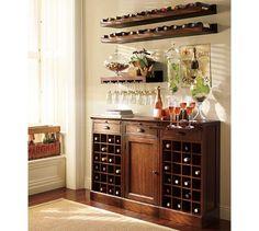 Modular Bar Buffet - 2 Wine Grid Bases \u0026 1 Cabinet Base   Pottery Barn