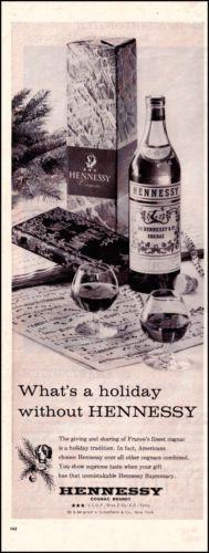 1960 Hennessy Cognac Brandy Vintage Print Illustrated Ad with St Bernard Dog