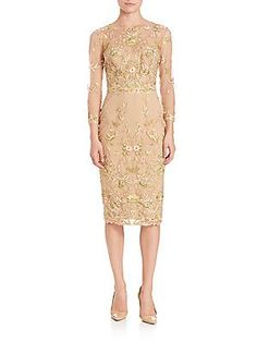 Marchesa Notte Floral Embroidered Sheath Dress