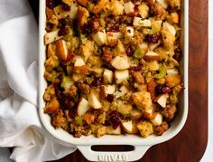 Sausage and Pear Stuffing/Dressing. Sourdough Sausage and Pear Stuffing with sage and cranberries perfect for your Thanksgiving or holiday dinner! Easy Thanksgiving Sides, Thanksgiving Recipes, Holiday Recipes, Fall Recipes, Thanksgiving 2020, Holiday Meals, Sausage Stuffing, Apple Sausage, Gourmet