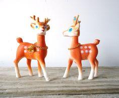 Vintage Rubber Deer Figures