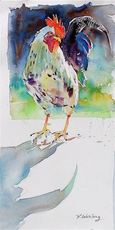 Paying Close Attention Greeting Card for Sale by David Lobenberg Paying Close Attention Painting Watercolor Bird, Watercolor Animals, Watercolor Paintings, Watercolors, Watercolor Portraits, Watercolor Landscape, Abstract Paintings, Rooster Painting, Rooster Art