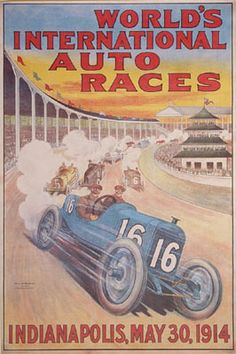 1914 Indianapolis 500 reproduction official event poster, features French race car at the head of the pack with grandstands filled and the pagoda in the background (60.3 cm x 90.8 cm)