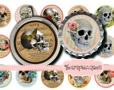BuY 1 GeT 1 FREE! Skull Digital Collage Sheet Bottle Cap Bottlecap Images Round 1 Inch Circles Skull Necklace Ring Skull Jewelry Making by TheGraphicsQueen, $2.95