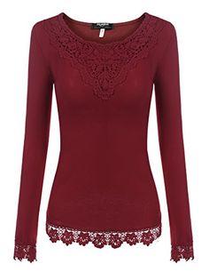 79749c29945 Zeagoo Damen T-Shirt Tops mit Spitze Langarmshirt Spitzenshirt Bluse Hemd  Shirt Oberteil  Amazon.de  Bekleidung