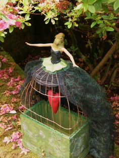 ALTERED BIRD ART DOLL with CAGE SKIRT zne  http://www.etsy.com/listing/15633399/fly-free-handmade-and-altered-bird-art