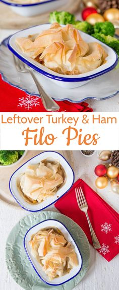 An easy recipe to use up leftover Thanksgiving Turkey.  Topped with a single sheet of foil pastry for texture these pies are lighter than a traditional pastry covered pie