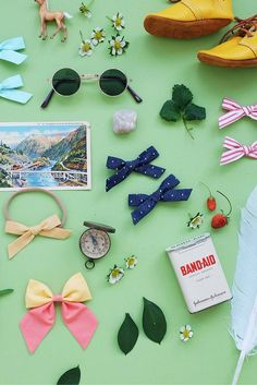 Handmade bows for your little free spirit. Schoolgirl, sailor, and mini-sailor bows made in the USA with love. And as you can see, we love flat lays!! // Be Brave - Free Babes Handmade