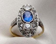 Antique Sapphire & Diamond Ring | Isadora's