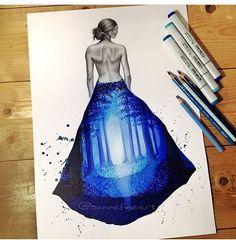 #mulpix  #Draw  #vestido  #moda  #lindo  #linda  #art  #arte  #artista  #like  #follow  #followme  #girl  #floresta  #azul  #noite  #desginer  #amazing  #drawing  #desenhos  #desenho . By  @sannefineart  . Adm  @vandinho.c