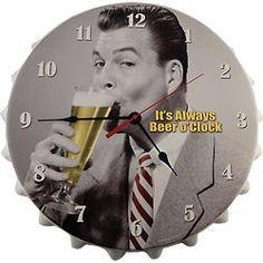 It's Always Beer O'Clock Metal Bottle Cap Wall Clock