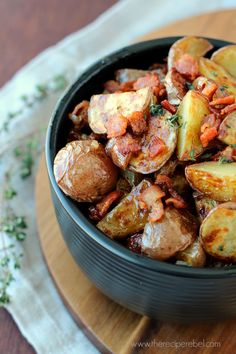 Warm Maple Bacon Potato Salad: the best kind of salad! Crispy roasted potatoes with a smoky, sweet, tangy vinaigrette. www.thereciperebel.com @ashleyfehr
