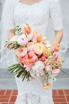orange and coral garden spring wedding bouquets/ rustic chic blush pink spring wedding bouquets