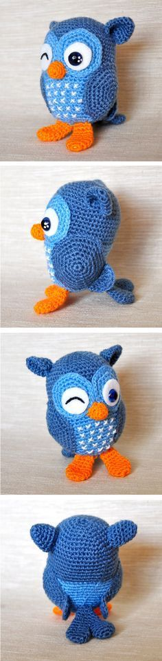 "Example of Jip the owl from Spanish blog ""Chica outlet"" -  A Dutch pattern for the owl is available for free here www.amigurumi-hak... (designed by Tessa van Riet-Ernst aka Kookeridoo) - you must sign up to download it."
