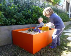 Child's play - creative uses with Planter Boxes - orange sandpit Planter Boxes, Planters, Sand Pit, Outdoor Entertaining, Kids Playing, Toy Chest, Concrete, Engineering, Backyard