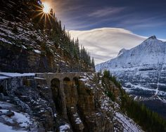 Much of the Going-to-the-Sun Road at Glacier National Park in Montana is closed to vehicles for the winter. A fall snow storm dusted the mountains with white and brought silence to this recently bustling road. Accessible only by bike and on foot,...