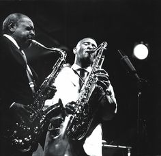 Sonny Rollins with Coleman Hawkins at the Newport Jazz Festival, 1963 by Lee Tanner