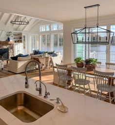 Lighting/furniture arrangement house interior New House Tour - The Lilypad Cottage Furniture Arrangement, House Goals, Home Fashion, Home And Living, Big Living Rooms, Living Room Windows, Beautiful Living Rooms, Living Room Chandeliers, Living Room Vaulted Ceiling