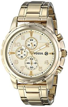 fossil watch men s chronograph grant gold ion plated stainless mens watch for me fossil men s fs4867 dean analog display analog quartz gold watch fossil