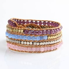 Bracelets – 5 Wrap Natural Stone Beaded leather bracelet – a unique product by thebestshow on DaWanda Bracelet Cuir, Bangle Bracelets, Bangles, Friend Bracelets, Leather Bracelets, Beaded Leather Wraps, Stone Wrapping, Layered Jewelry, Pink Opal