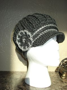 Classy Adult Charcoal Newsboy Cloche Hat Free by ClassicCreations2, $25.00 Crochet Newsboy Hat, News Boy Hat, Cloche Hat, Neck Warmer, Charcoal, Winter Hats, Creativity, Diy Projects, Classy