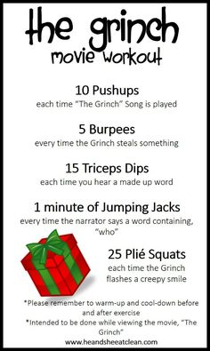Belly Circuit How much fun is this? The Grinch movie workout! Grab the kids and get them moving while you burn a sweat too!How much fun is this? The Grinch movie workout! Grab the kids and get them moving while you burn a sweat too! Disney Movie Workouts, Tv Show Workouts, Disney Workout, Fun Workouts, At Home Workouts, Netflix Workout, Tv Workout Games, Office Workouts, Netflix Tv