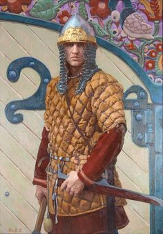Russian costume in painting. Pavel Popov. Portrait of Maxim Makarov in the 12th Century