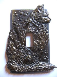 Vtg SP Antique Bronze Metal CAT Kitten Paw Print Single Light Switch Plate Cover #SP