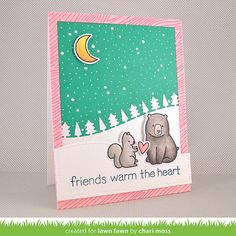 Lawn Fawn + Tsukineko: Friends Warm The Heart (MossyMade blog) Lawn Fawn Love You S'More, Making Frosty Friends, Forest border die)