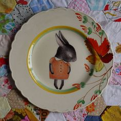 Lovely Shy Bunny with Autumn Floral van thestorybookrabbit op Etsy