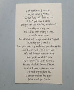 pregnancy announcement letter from baby poem