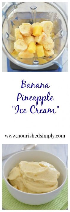 """Do want a healthier alternative to ice cream?  Try 100% whole fruit """"ice cream"""".  This banana pineapple ice cream will satisfy your sweet tooth, but make you feel good inside!"""