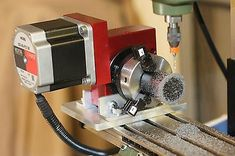 Image result for 4th axis assembly for Proxxon MF70 mill