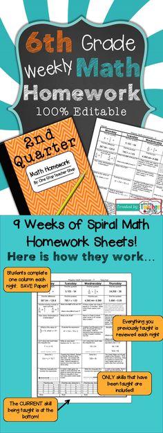 Sixth Grade Math Practice or Homework Sheets Bundle | Homework sheet ...