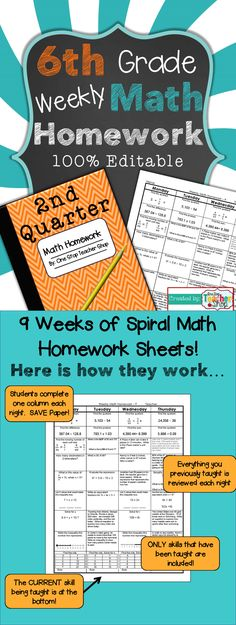 6th Grade Common Core Spiral Math Homework covering the ENTIRE 2nd Quarter - 100% Editable - with Answer Keys!!! $