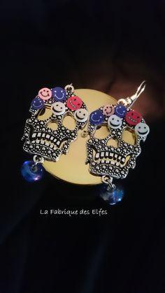 CADEAU ORIGINAL BOUCLES D'OREILLES ROCK AND SMILEY : Boucles d'oreille par la-fabrique-des-elfes