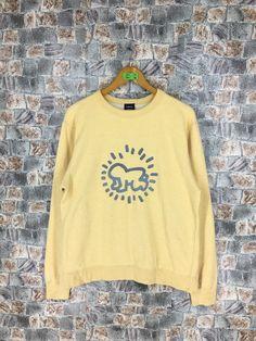 7739c4fc0 KEITH HARING Sweatshirt Large Vintage 90s K. Haring Pop Art Baby Crawling  Artwork Sweater Yellow Pullover Jumper Size L
